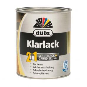 Лак интерьерный акриловый полуглянцевый Klarlack 2 в 1 Dufa 0,75 л